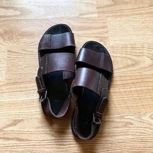 J.crew leather sandals brown ankle strap sz:9M